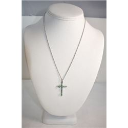 "STAMPED STERLING SILVER CROSS 18"" NECKLACE WITH Turquoise 2.7 GRAMS"