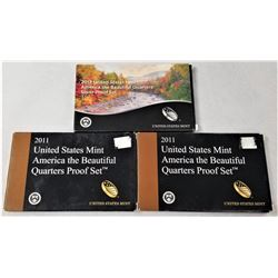 (3) United States Mint America the Beautiful Silver and Quarter Proof Sets 2013, 2011, 2011