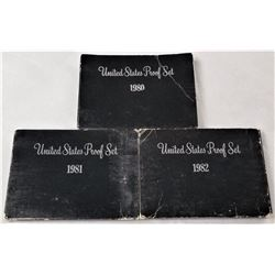 (3) United States Proof Sets, 1980, 1981, 1982