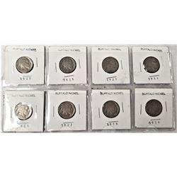 (8) Buffalo Nickels 1920, 1921, 1923, 1924, 1925, 1927, 1928, 1929