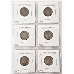 (6) Buffalo Nickels 1920, 1923, 1925, 1926, 1927, 1934
