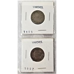 (2) V-Nickels 1905, 1907