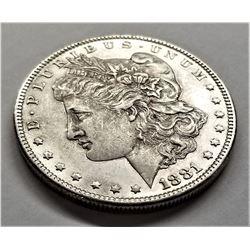 1881-O AU+ Morgan Silver Dollar