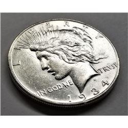 1934-D AU Peace Dollar