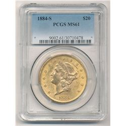 1884-S $20 PCGS MS61 Liberty Head