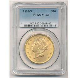 1891-S $20 PCGS MS62 Liberty Head