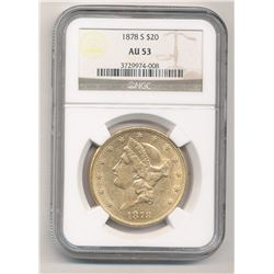 1878-S $20 AU53 Liberty Head NGC