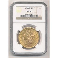 1883-S $20 AU58 Liberty Head NGC