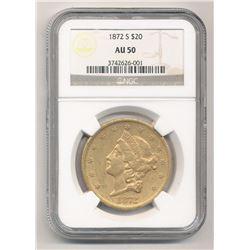 1872-S $20 AU50 Liberty Head NGC