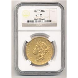 1872-S $20 AU55 Liberty Head NGC
