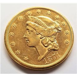 1874-S Strong AU Detail $20 Liberty Gold