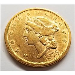 1875-S MS62  Rare to Find a Type 2 $20 Liberty Gold This Nice