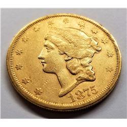 1875-S AU $20 Liberty Gold