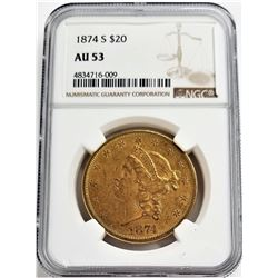 1874-S $2 AU55 LIBERTY GOLD NGC