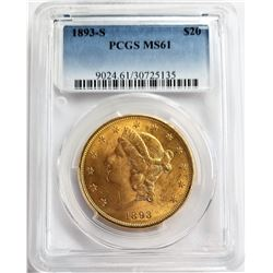 1893-S $20 PCGS MS61 LIBERTY GOLD