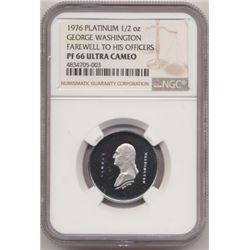 *ONLY 1,000 MINTED* 1976 PROOF PLATINUM NGCPF65 GEORGE WASHINGTON FAREWELL TO HIS OFFICERS MEDALLIC