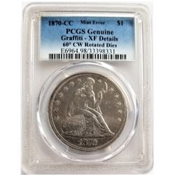 1870-CC MINT ERROR $1 PCGS GENUIN GRAFFITI - XF DETAILS 60 DEGREE CW ROTATED DIES SEATED LIBERTY
