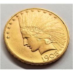 1914-D $10 AU+ INDIAN HEAD