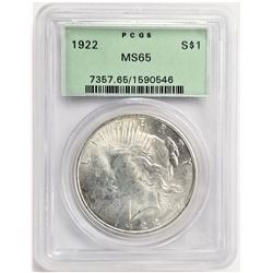 1922 S$1 MS65 PCGS PEACE DOLLAR OGH