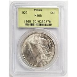 1923 S$1 MS65 PCGS PEACE DOLLAR OGH