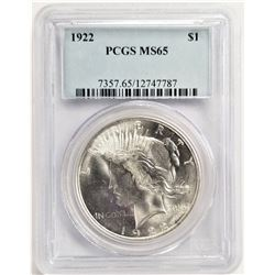 1922 S$1 MS65 PCGS PEACE DOLLAR