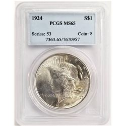 1924 S$1 MS65 PCGS PEACE DOLLAR SERIES: 53 COIN; 8