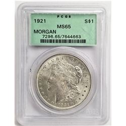 1921 S$1 MS65 PCGS MORGAN SILVER DOLLAR OGH