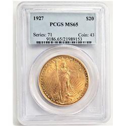 1927 $20 MS65 PCGS SAINT GAUDENS DOUBLE EAGLE SERIES:71 COIN: 43