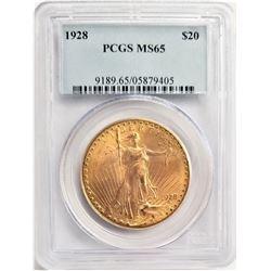 1928 $20 MS65 PCGS SAINT GAUDENS DOUBLE EAGLE