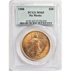 1908 $20  MS65 PCGS NO MOTTO SAINT GAUDENS DOUBLE EAGLE