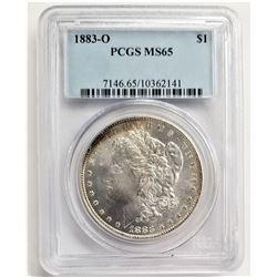 1883-O $1 PCGS MS65 MORGAN SILVER DOLLAR RAINBOW TONING