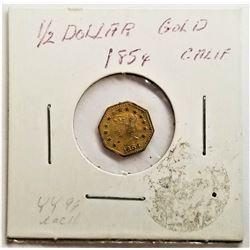 1854 1/2 Dollar California Gold Octagonal