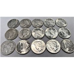 SHINY LOT OF 15 PEACE DOLLARS 1922, 1923, 1924
