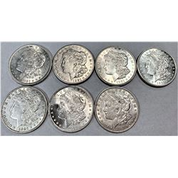 (1) LOT OF 7 1921 MORGAN SILVER DOLLARS MIRROR LIKE