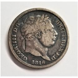 1816 Great Britain, George III. Silver Six Pence Coin