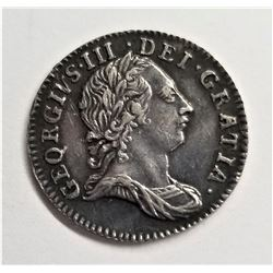 1762 Great Britain 3 Pence Silver