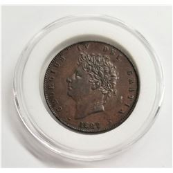 1827 Great Britain UK Half Penny