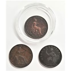 1723, 1825, 1827 British English Farthings