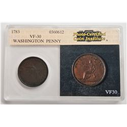 1783 Washington & Independence Colonial VF-30 Washington Penny