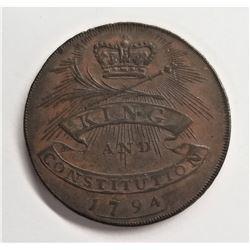 1794 D&H Essex #5 Half Penny Conder Token XF