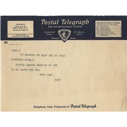 Vincente Minnelli collection of (20+) significant letters, telegrams, and personal documents.