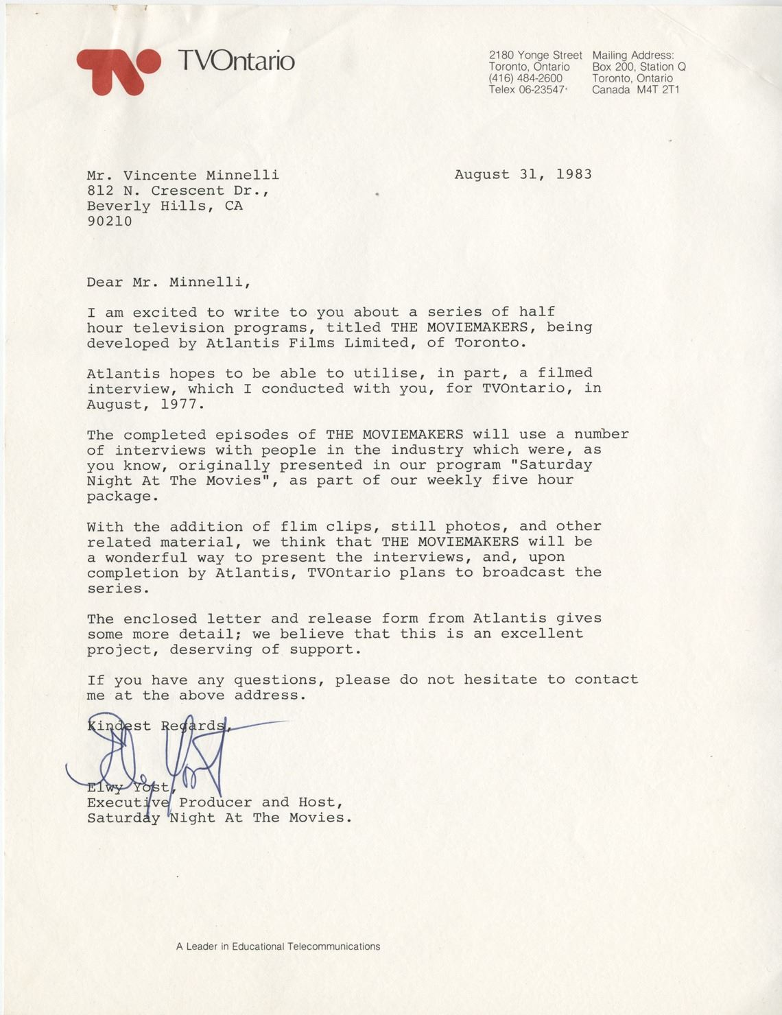 Vincente Minnelli (5) signed letters and documents