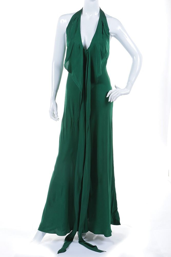 f8d526d6f0b Image 1   Liza Minnelli floor length emerald green halter dress with black  knit shawl.