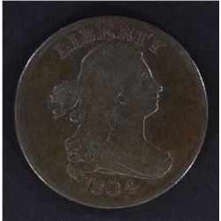 1804 PLAIN 4 STEMS HALF CENT, VF