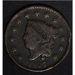 1827 LARGE CENT, VG rim hit BETTER DATE
