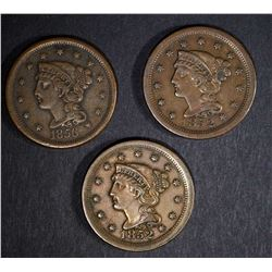 2 - 1852 & 1 - 1856 LARGE CENTS, VERY FINE