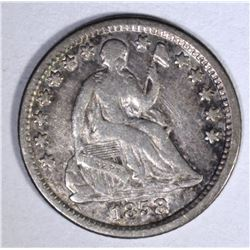 1858-O SEATED HALF DIME, XF