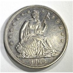1868 SEATED HALF DOLLAR, CH BU