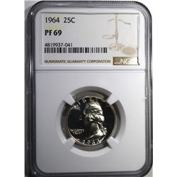 1964 WASHINGTON QUARTER, NGC PF-69