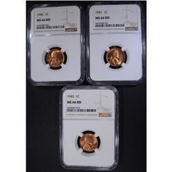 1940, 41, 42 LINCOLN CENTS NGC MS-66 RD